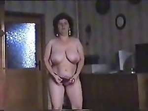 Excellent striptease of shaggy aged bitch. Amateur elder