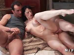 Big titted french mommy sodomized in trio